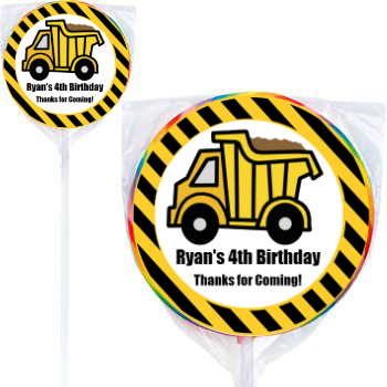 Construction PERSONALIZED Large Swirl Lollipops - 12 Pk