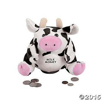 Plush Cow Mooing Piggy Bank