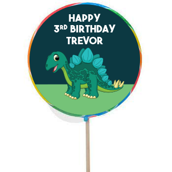 Dinosaur PERSONALIZED Large Lollipops - 12 Pack
