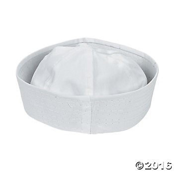 DIY White Cotton Sailor Hats - 12 pcs.