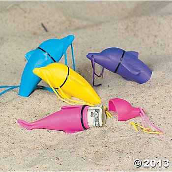 Dolphin Beach Safe Container Necklaces - 12pk