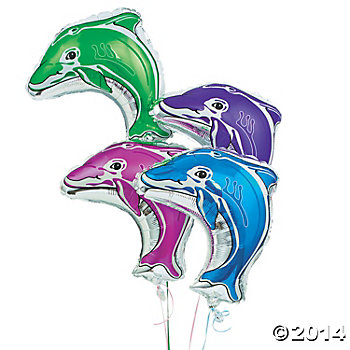 Dolphin Shaped Large Foil Balloons 4 Pack