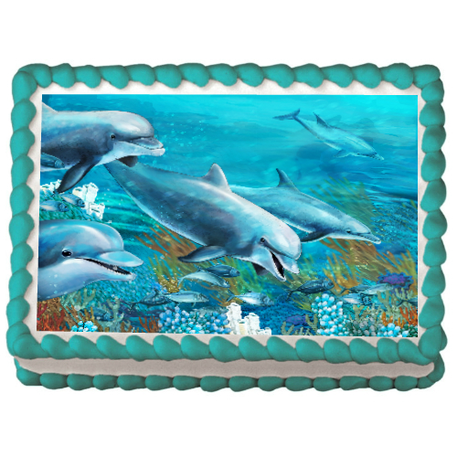 Dolphin Edible (PERSONALIZABLE) Cake Icing Image