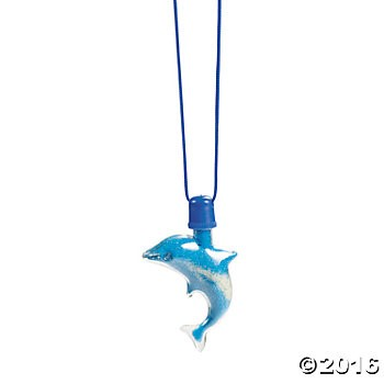 Dolphin Sand Art Bottle Necklaces - 12 Pk