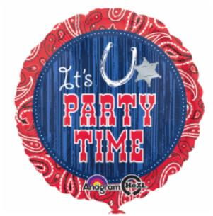 Western Party Time Large Foil Balloon
