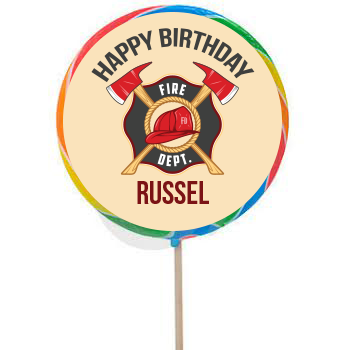 Fire Fighter PERSONALIZED Large Lollipops - 12 Pk