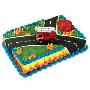 Fire Engine and Hat Cake Topper 2 pc
