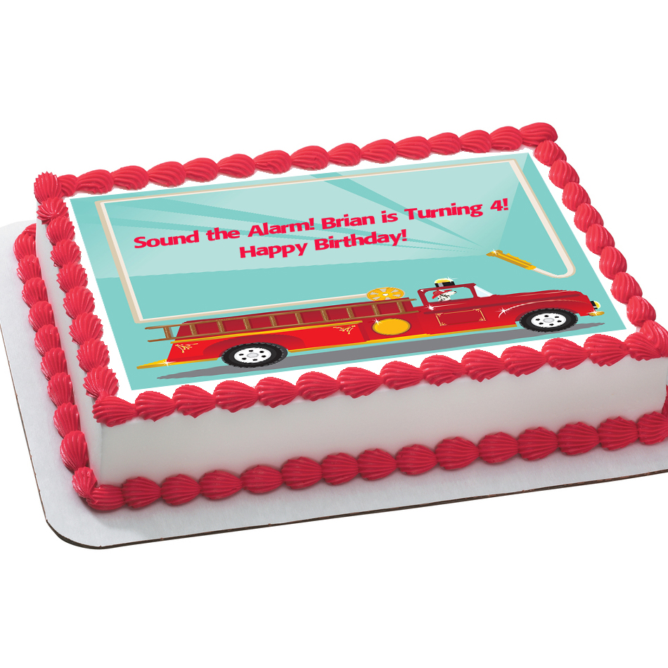 Fire Truck with Dog PERSONALIZED Edible Icing Sheet