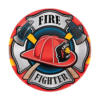 Fire Party Supplies: Firehouse Hero Dinner Plates 8pk