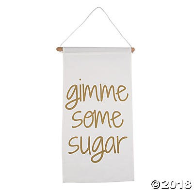 Gimme some sugar column banner 30 party supplies canada open a party a great addition to wedding reception decorations this simple yet sweet banner reads gimme some sugar includes cord hanger and a wooden dowel canvas junglespirit Choice Image