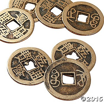 Antique Gold Finish Metal Chinese Coins - 12 Pk