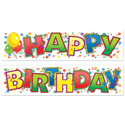 happy birthday 5ft confetti banners 2 piece set party supplies