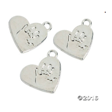 Handprint Heart Charms - 25 Pack