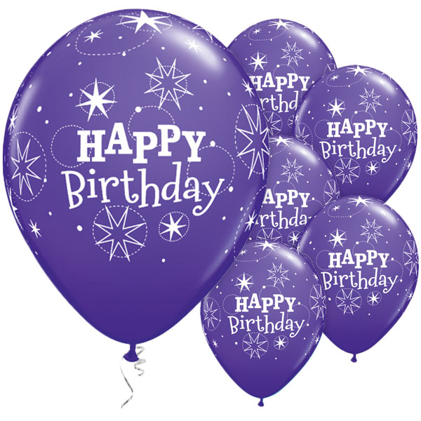 Happy Birthday Sparkle Purple Latex 50pk Party Supplies ...
