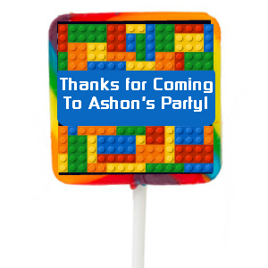 Lego PERSONALIZED Large Square Lollipops - 12 Pk