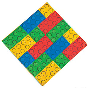 Lego Blocks Lunch Napkins - 16 Pack