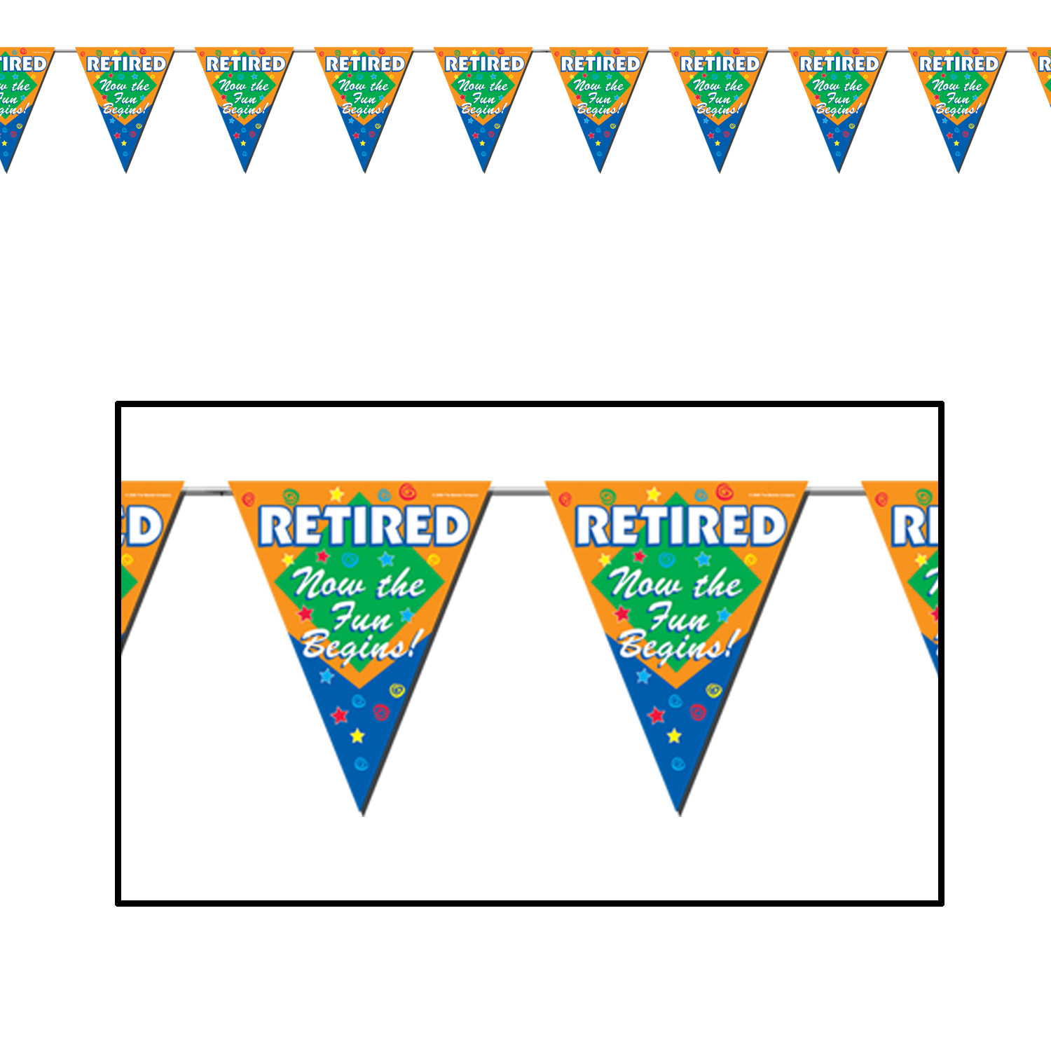 Retirement Party Supplies: Fun Begins Pennant Banner 5 ft.