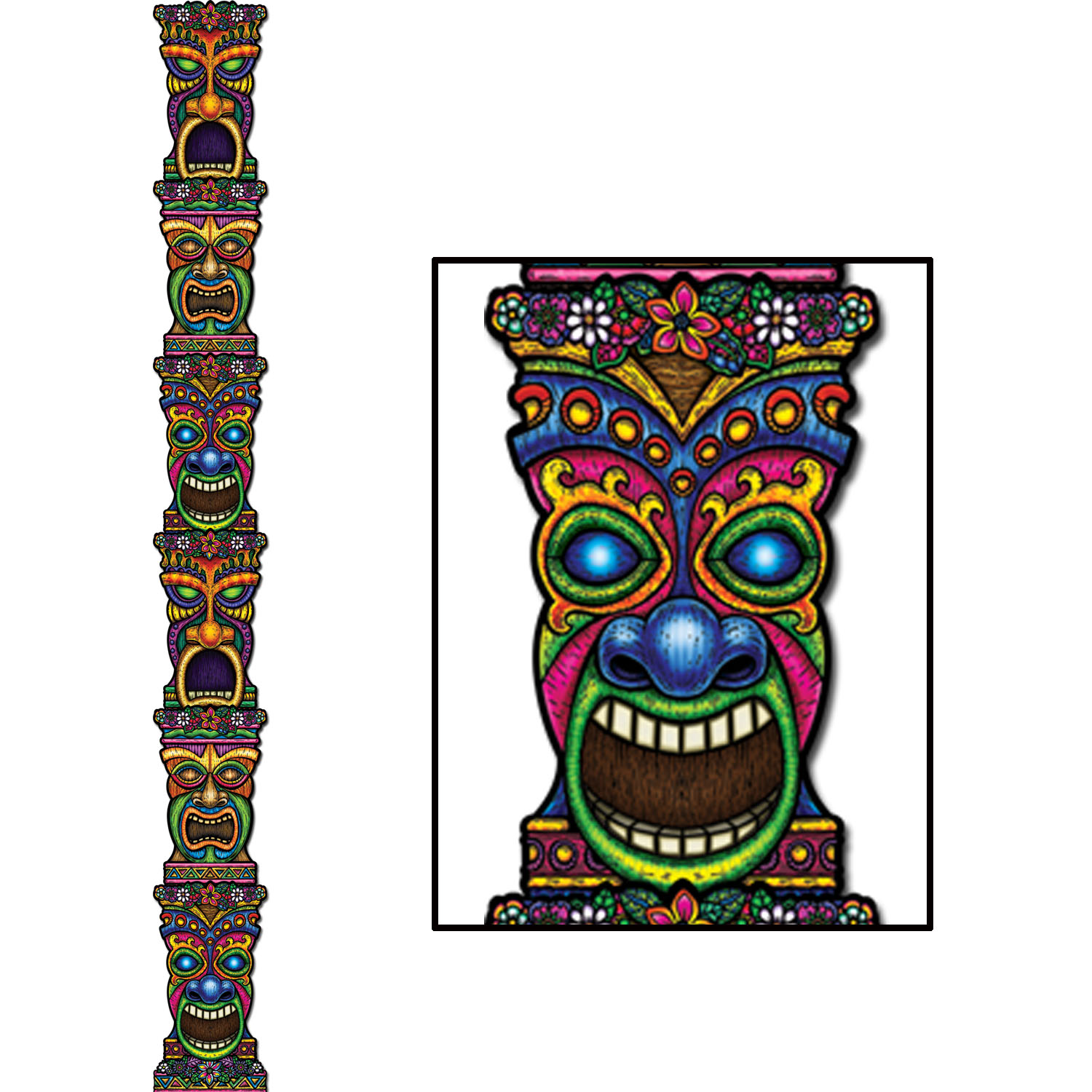 Jointed 7 Ft. Tiki Totem Pole