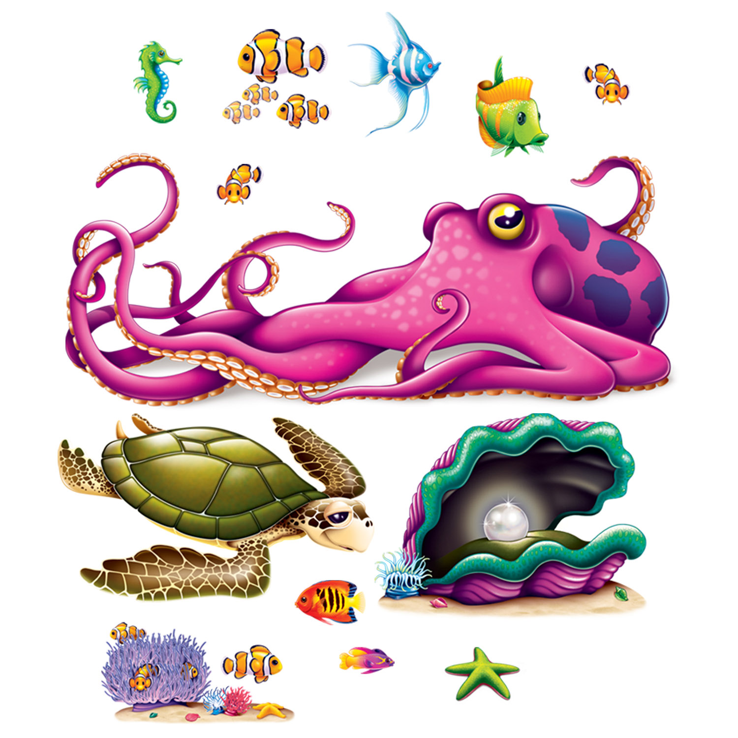 Sea Creature Jumbo Wall Props 13 Pk