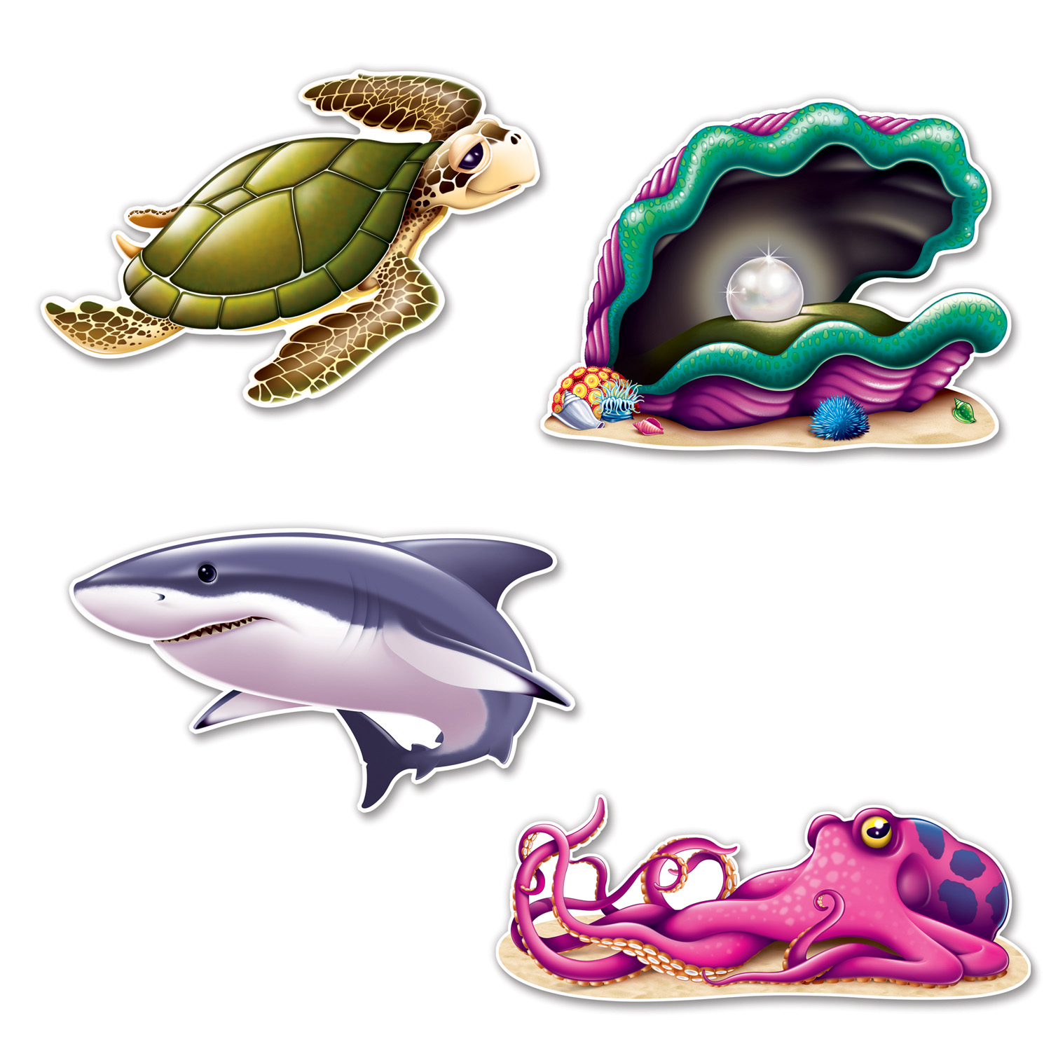 "Under The Sea 14"" Creature Cutouts 4 Pk"