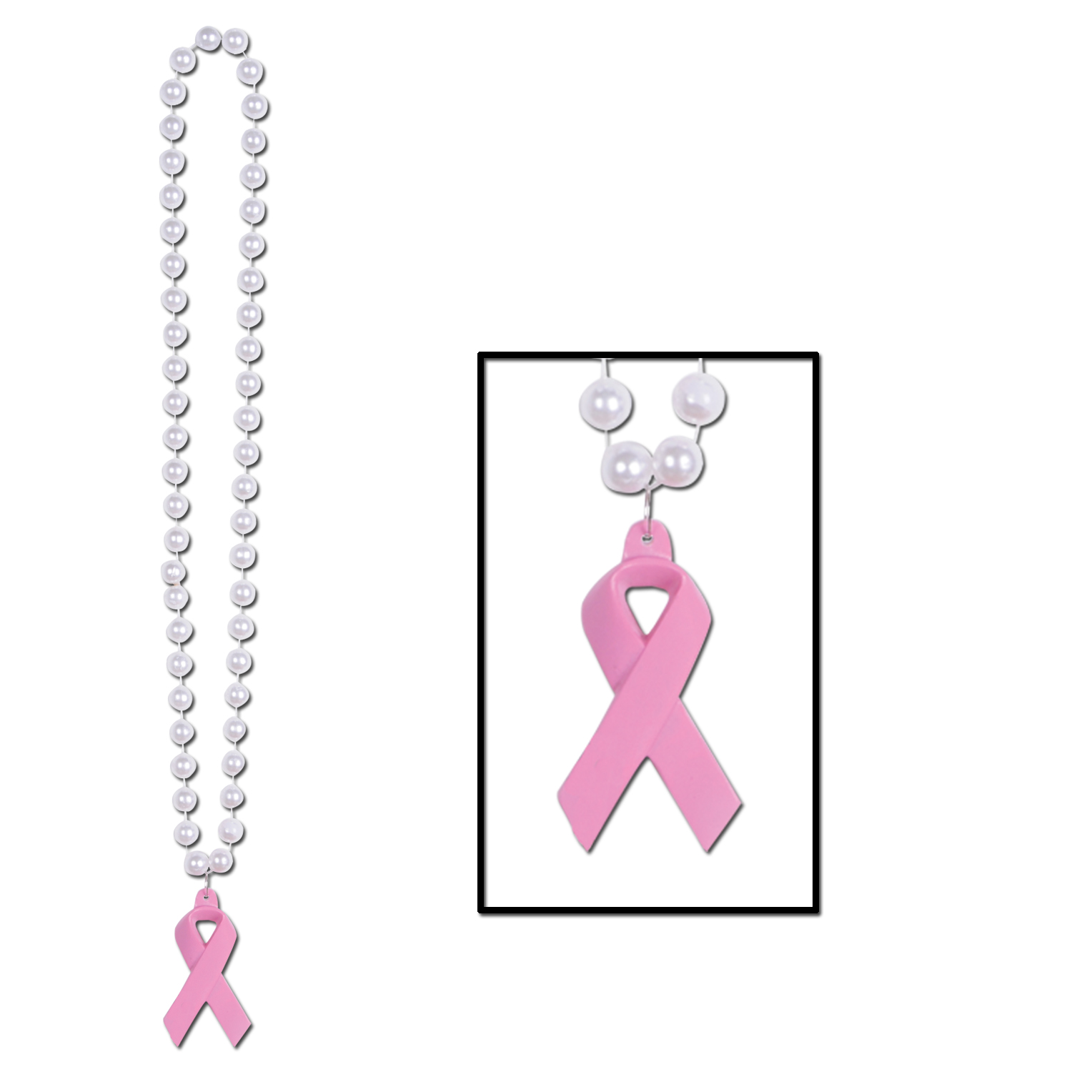 Pink Ribbon Necklace w/Medallion