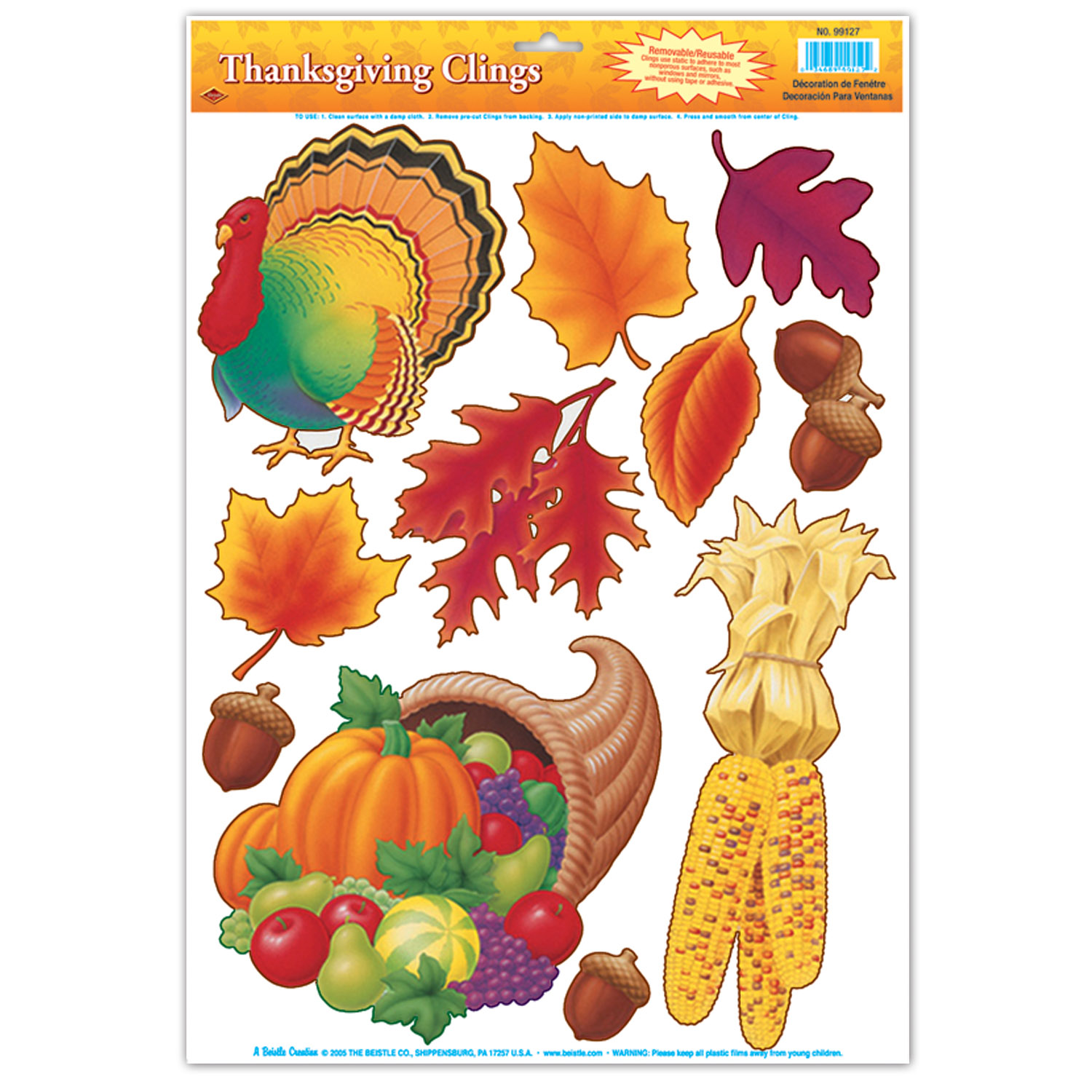 Assorted Thanksgiving Window Clings 11 Pk