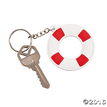 Nautical Life Preserver Key Chains - 12 Pk