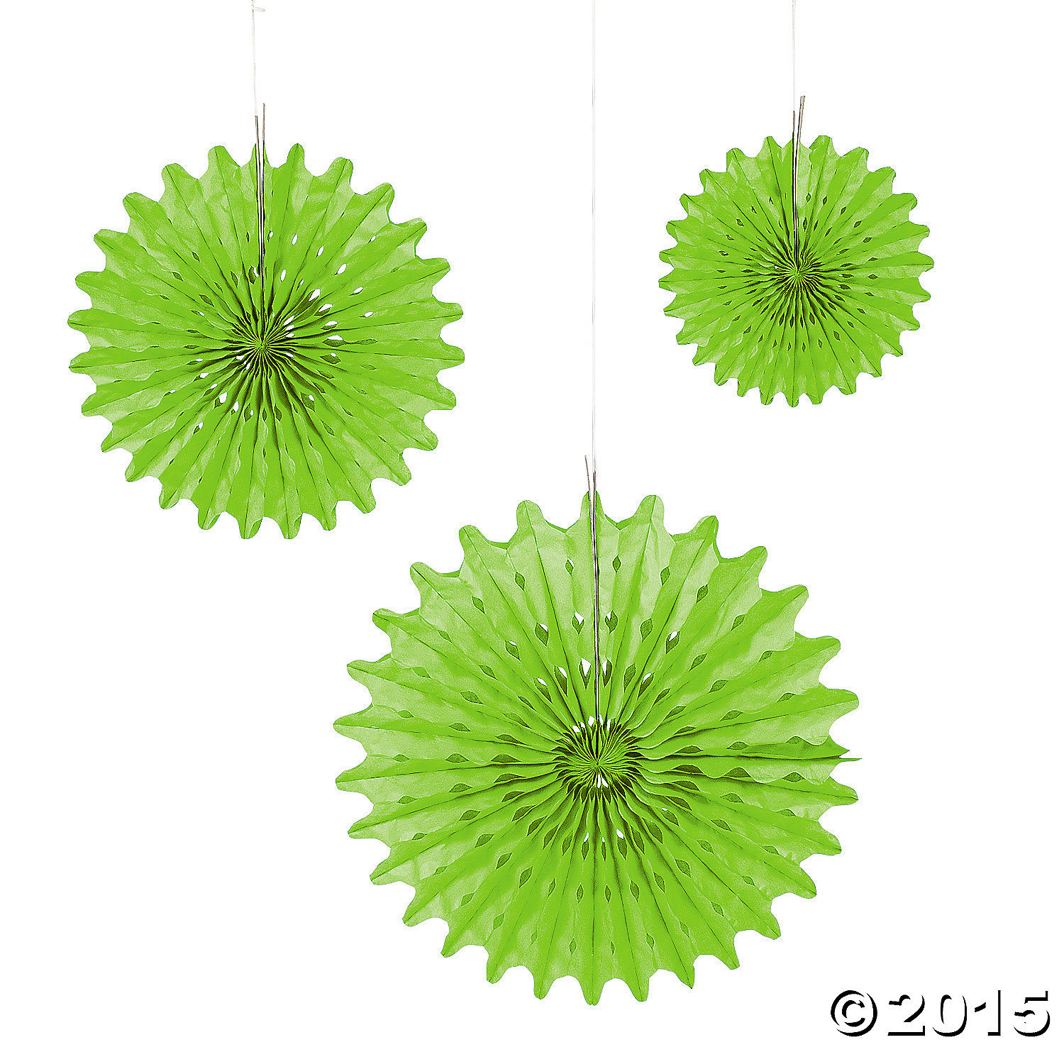 Lime Green Tissue Hanging Fans - 12pk