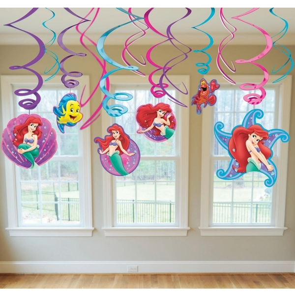 Little mermaid party supplies ceiling swirls 12 pk party for Ariel decoration party