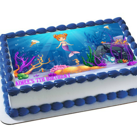 Mermaid Under Sea PERSONALIZED Edible Icing Image