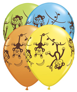 Monkey Large Latex Balloons 5 Pk
