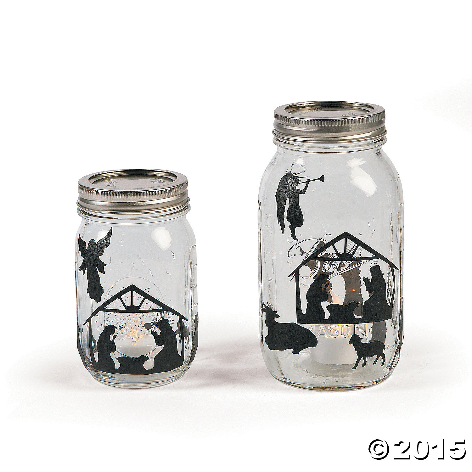 Religious nativity mason jar decals 24 pk party supplies for What to fill mason jars with for christmas