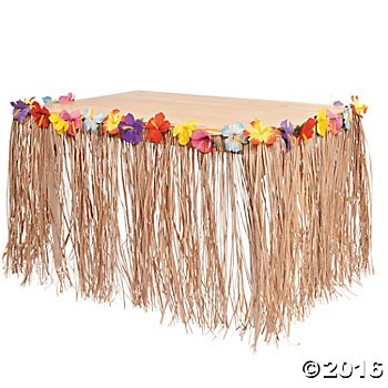 Natural Raffia Table Skirt with Hibiscus