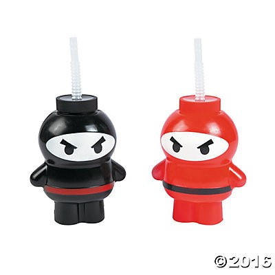 Ninja Plastic Cup with Lid and Straw