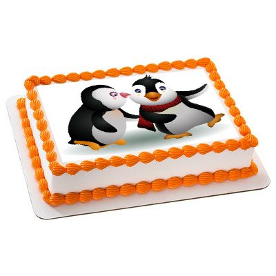 Penguins Two PERSONALIZABLE Edible Icing Image
