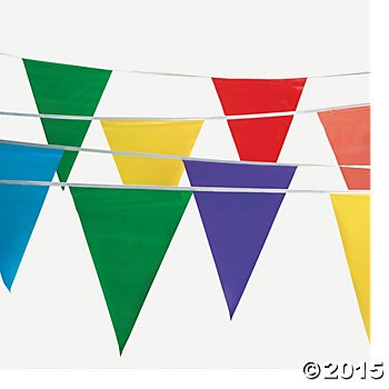 100 ft. Plastic Large Pennant Rainbow Banner