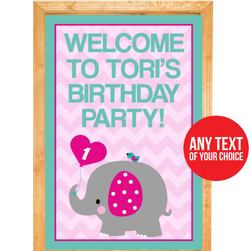 Pink Elephant PERSONALIZED Giant Door Sign