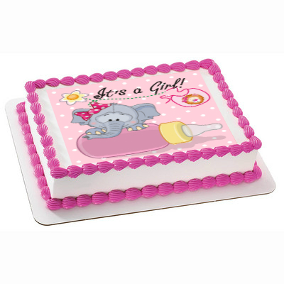 Elephant Girl Shower PERSONALIZABLE Edible Icing Image