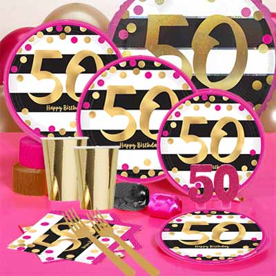50th Birthday Pink Gold Metallic Party Pack For 16