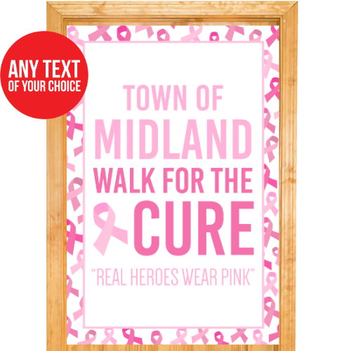 Pink Ribbon PERSONALIZED Giant Door Sign