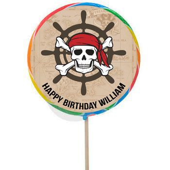 Pirate PERSONALIZED Large Lollipops - 12 Pk