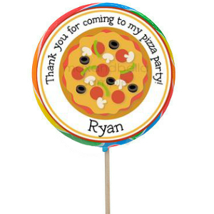 Pizza Party Large Personalized Lollipops - 12 Pack