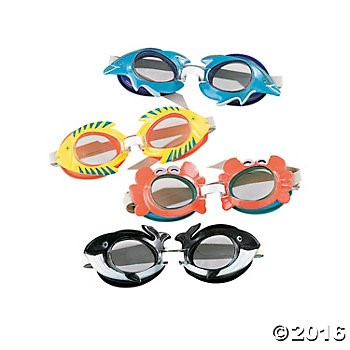 Plastic Tropical Swim Goggles - 12 Pk