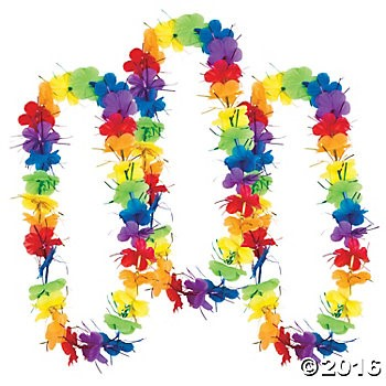 Polyester Rainbow Tinsel Leis - 12 Pack