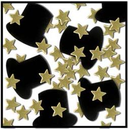 Confetti Top Hats & Stars Gold