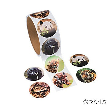 Realistic Zoo Animal Roll of Stickers 100pk