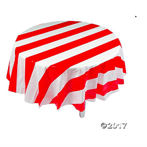 Red & White Striped Round Tablecloth