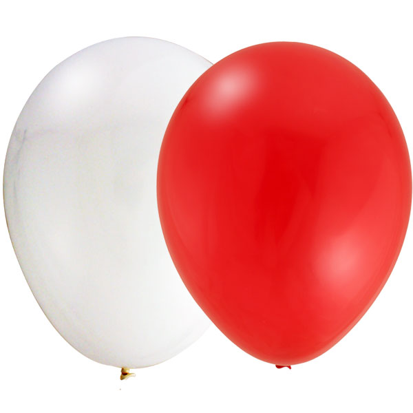 Canada Day Red & White Large Latex Balloons - 100 Pk
