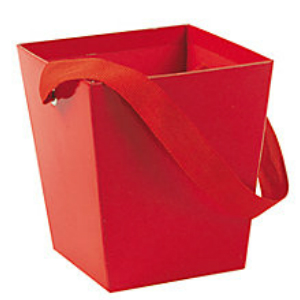 Red Buckets with Ribbon Handles 6 Pk