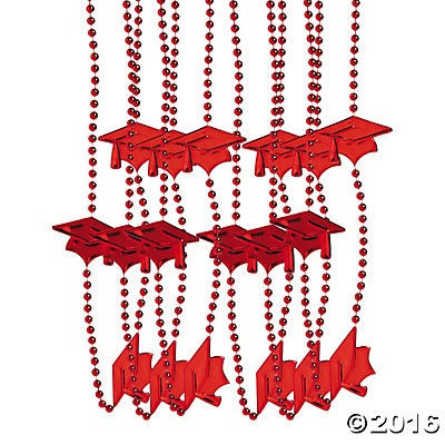 Graduation Red Bead Necklaces - 24pk